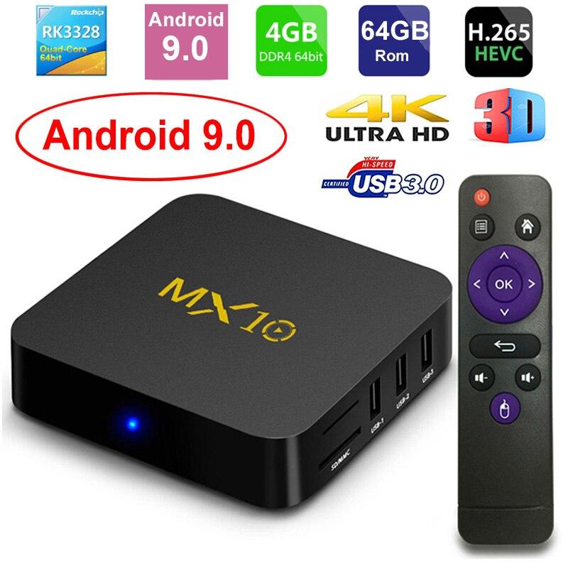 Boîtier TV intelligent MX10 Android 9.0 Rockchip RK3328 DDR4 4 GB Ram 64 GB Rom IPTV décodeur intelligent 4 K USB 3.0 HDR H.265 boîtier lecteur multimédia