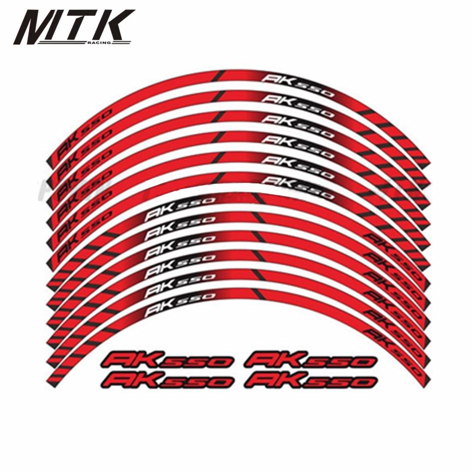 MTKRACING 12 X Moto Pour KYMCO AK550 AK 550 Épais Bord Extérieur Autocollant Rim Stripe Roue Stickers