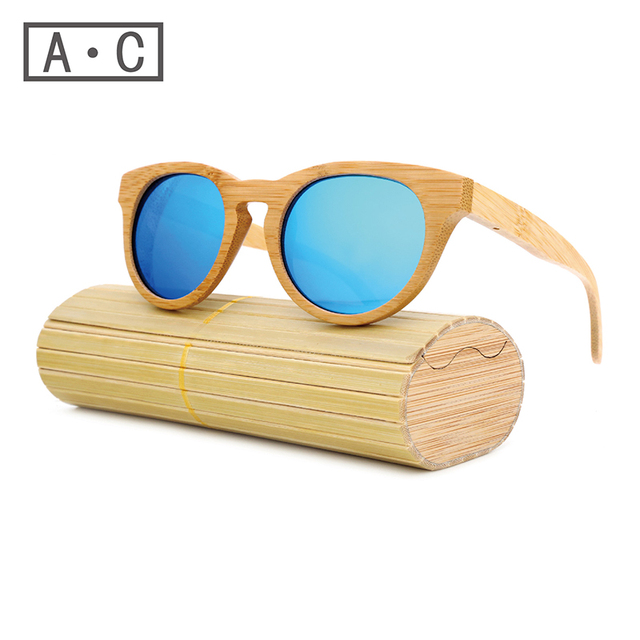2016 Bamboo Sunglasses Men Wooden Sunglasses polarized Brand Designer Mirror Original Wood Sun Glasses Oculos zonnebril