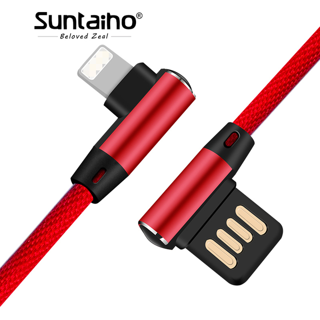 Suntaiho for lightning cable 90 degree Double-sided Plug USB Cable Charging For iPhone XS R Nylon Cable Elbow for iPad Phone 8 7