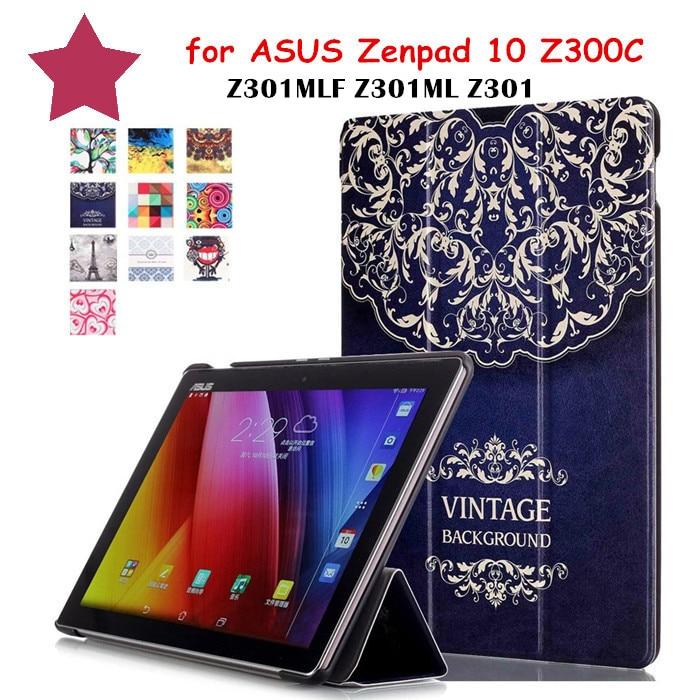 Flip Cover Colorful Painted PU Leather Case for ASUS Zenpad 10 Z300C Z300 Z301MLF Z301ML Z301 z300m 10.1 Tablet Case чехол для asus zenpad z580c z580ca it baggage эко кожа черный