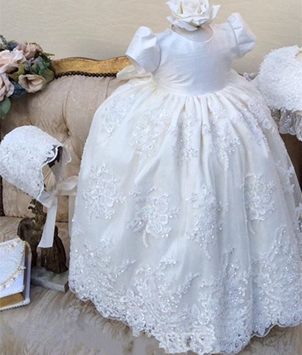 2018 White Ivory Baby Girl Long Christening Dress Beaded Lace Baptism Gown With Bonnet beaded blings appliques lace baby girl white ivory first communion dresses christening gown baptism dress