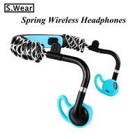 2018 Latest S.Wear Stick Spring Wireless Headphones Elastic Bluetooth Earphone call phone transparent air music headset with mic