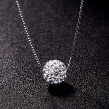 Classic Simple 925 Sterling Silver Necklace For Women 10mm Zircon Ball Necklaces Pendants Sterling-silver Jewelry(China)