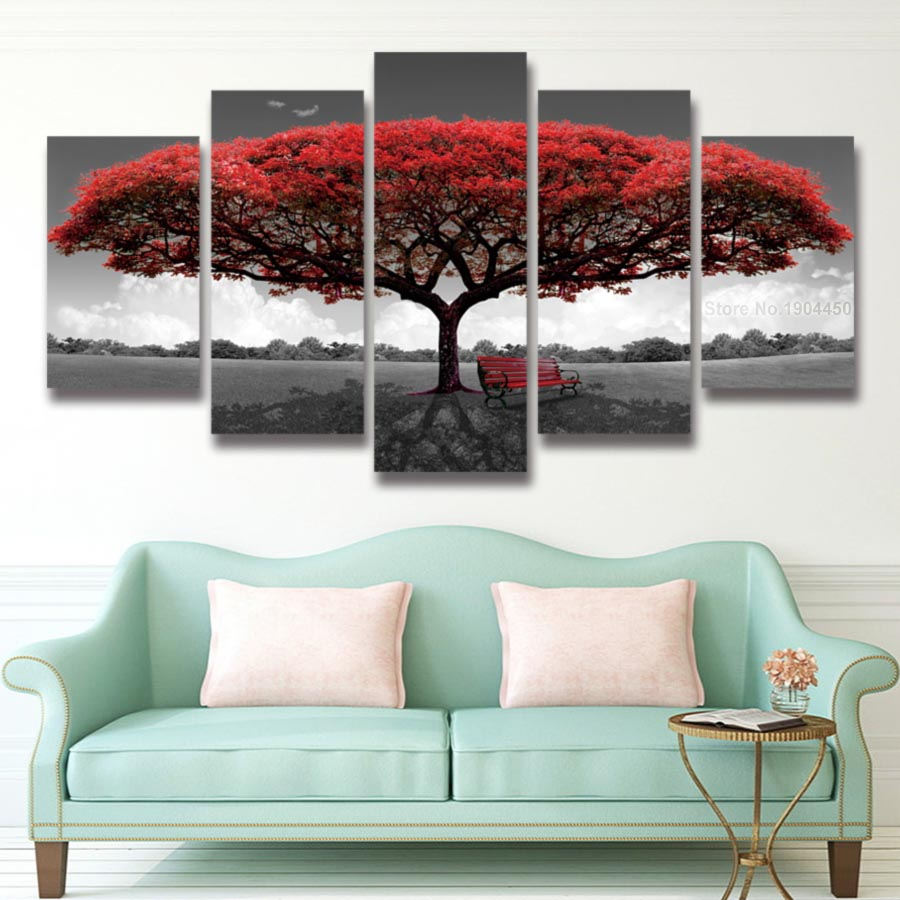 5 panel Printed red tree art scenery landscape modular ...