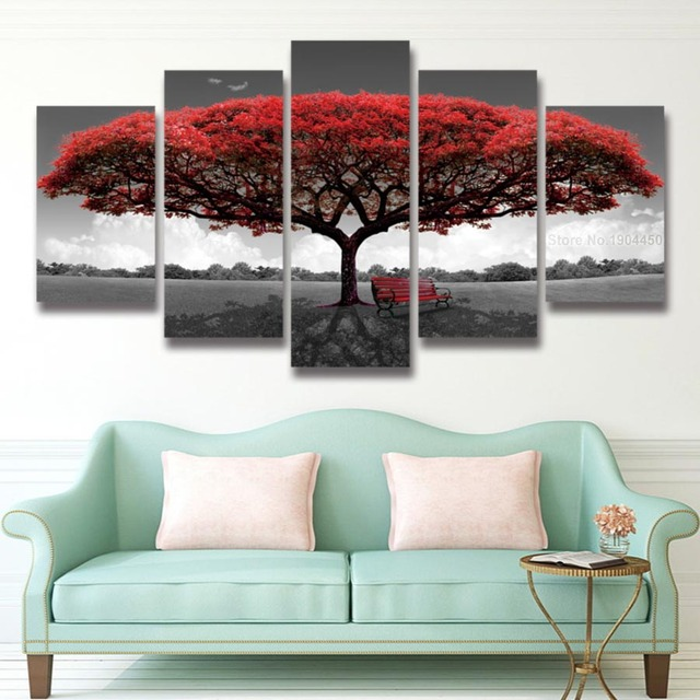 Beau 5 Panel Printed Red Tree Art Scenery Landscape Modular Picture Large Canvas  Painting For Bedroom Living