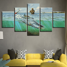5 Panel HD Print Fishing in the sea wall Art posters Print On Canvas Art Painting Modular Wallpaper For home living room decor naturally beautiful places in india landscape 5 panel hd print wall posters canvas art painting for home living room decoration