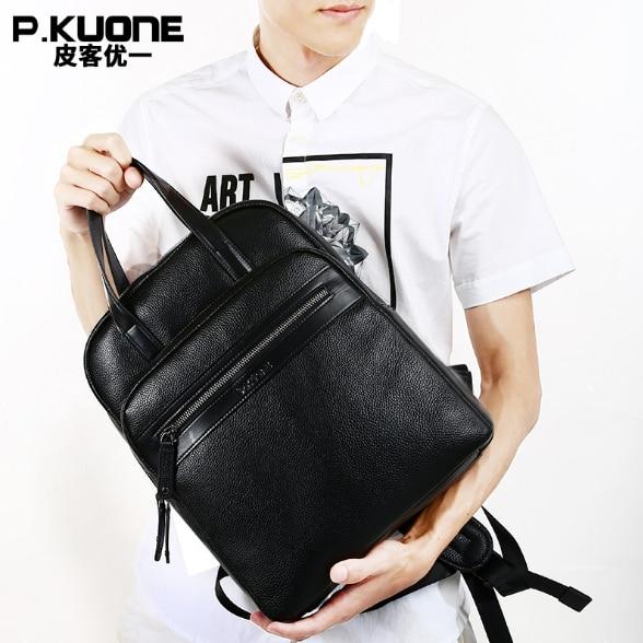P.kuone Business Cow Leather Shoulder Bag Genuine Leather Backpack Mens laptop  BackpacksP.kuone Business Cow Leather Shoulder Bag Genuine Leather Backpack Mens laptop  Backpacks