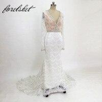 Luxury Lace Mermaid Wedding Dresses 2018 V Neck Embroidery Lace Heavy Beaded Court Train Bridal Dress