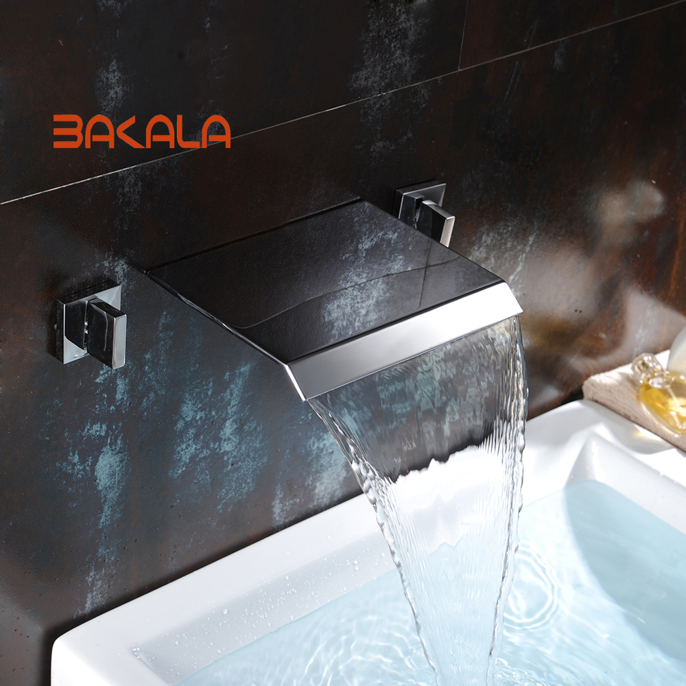BAKALA Widespread Contemporary Bathroom Basin Sink Waterfall Faucet Wall Mounted Mixer Tap Hot and Cold Water