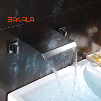 BAKALA Widespread Contemporary Bathroom Basin Sink Waterfall Faucet Wall Mounted Mixer Tap Hot and Cold Water LT 317B