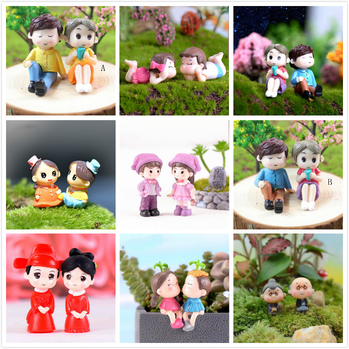 1set Mini Stool Couples Dolls Fairy Garden Miniatures Decor Dollhouse/Terrarium Action Figures Figurine DIY Micro Landscape