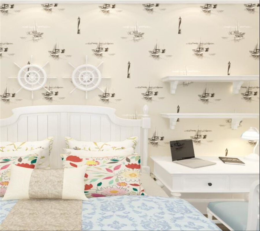 Beibehang Cartoon Mediterranean Sailboat Wallpaper Kids Room Male Girl Non Non Woven Bedroom Wallpaper Living Room papier peint beibehang children room non woven wallpaper wallpaper blue stripes car environmental health boy girl study bedroom wallpaper
