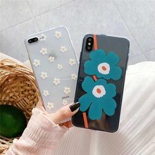 Moskado Transparent Soft Silicone For iPhone 7 8 Plus X XR Phone Case XS Max 6 6s Creative Leaf Flower Capa