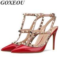 GOXEOU острый носок Для женщин s туфли лодочки красные пикантные вечерние Для женщин высокая женская обувь на каблуках бренд плюс размеры 34–46