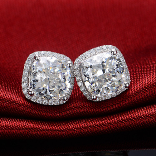 Amazing Brand Earrings Real Gold 3ct Piece Diamond Stud For Women Bridal Earring Cushion