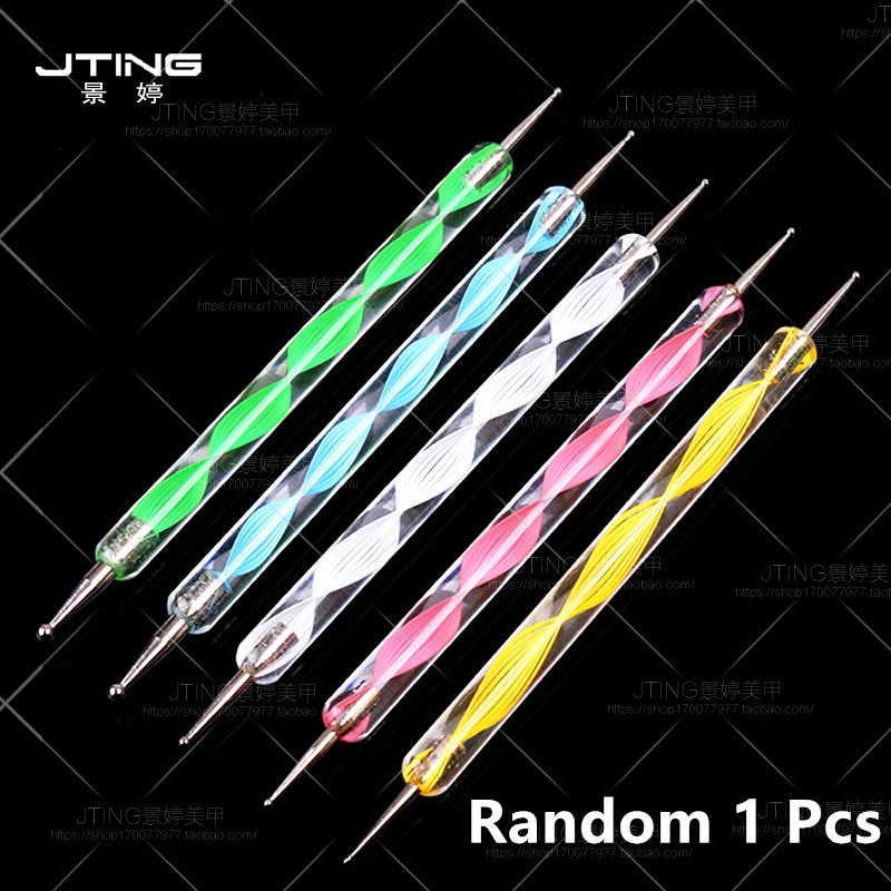 1Pcs 2 Way Nail Art Dotting Lukisan Pena Manikur Kuku Glitter Alat Nail Art Dotting Pena Alat Dot Set m2bb1 Dekorasi Kuku