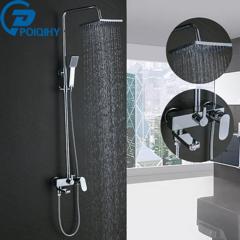 Chrome Shower Faucet Bathroom Rainfall hower Set Faucet Tub With Handheld Sprayer Mixer Tap Abs Shower Head