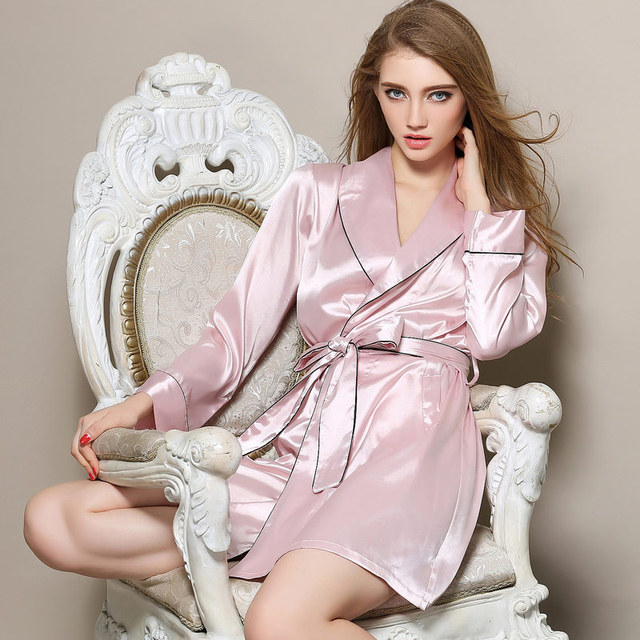 The new spring silky sexy ladies long sleeved robe female size silk robe Home Furnishing coat