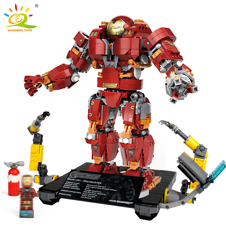 1530pcs Hulkbusters Iron Man robot Figures Building Blocks set Compatible Legoed marvele ...