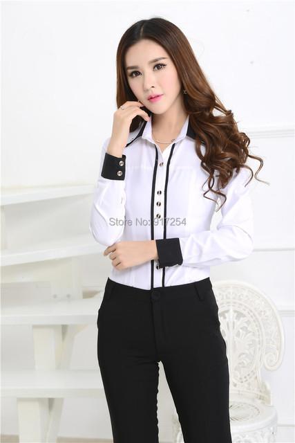 Novo 2015 Femininos moda Slim outono inverno blusas formais ternos com calças para o Office Lady trabalho desgaste Set roupas Plus Size