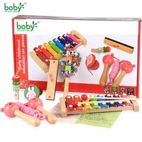 Wooden Musical Toys For Baby Kids Toy Education Rattles Xylophone 6pc Child Music Set Gift