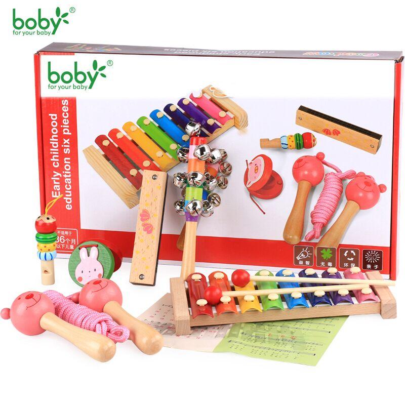 Дерев'яні музичні іграшки для дітей Baby Rattle Музика Дитячі іграшки 0-12 місяців Навчальний -6pc Дитячий подарунок