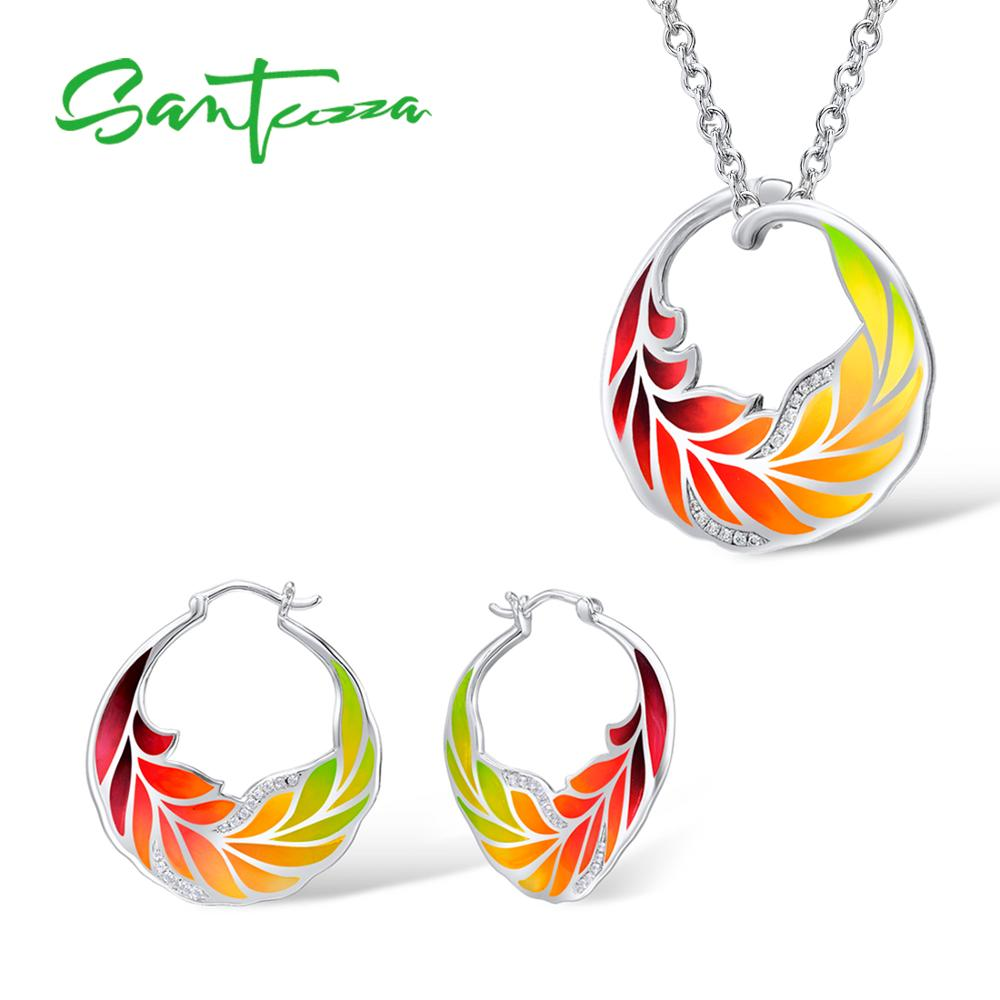 Santuzza Silver Jewelry Set Colorful Enamel Earrings Pendent Necklace 925 Sterling Silver Women Fashion Jewelry Set