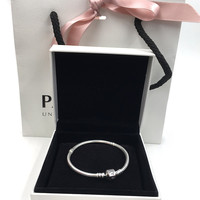 Perfects Charms Logo Engraved S925 Sterling Silver Bracelets Iconic Silver Charms Pandoras Bracelet Bangle Women Jewelry