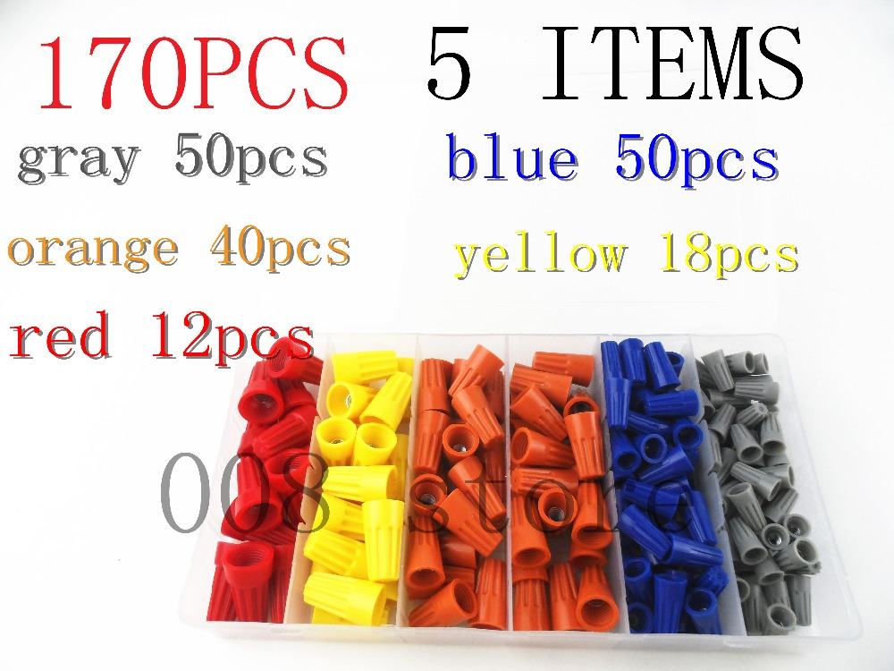 170pc Wire Twist Connectors Assortment Kit Set 22-14 AWG Screw on wire connector Caps Nuts Cable Connector 10sets kit bleed valve connector natural gas connector 13602619 1j0 973 702 waterproof auto 2pin connectors