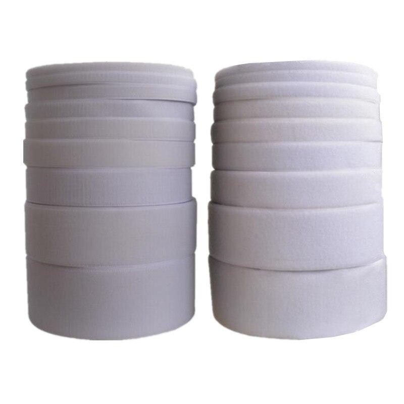 16 мм-150 мм Ширина Белый крюк и петля лента (без клея)/рулон-пришить полоски MST02