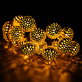 Solar Powered 4.8m 20LED Morocco Ball Solar String Light Warm white Christmas Light For Garden Wedding Party Holiday Decoration