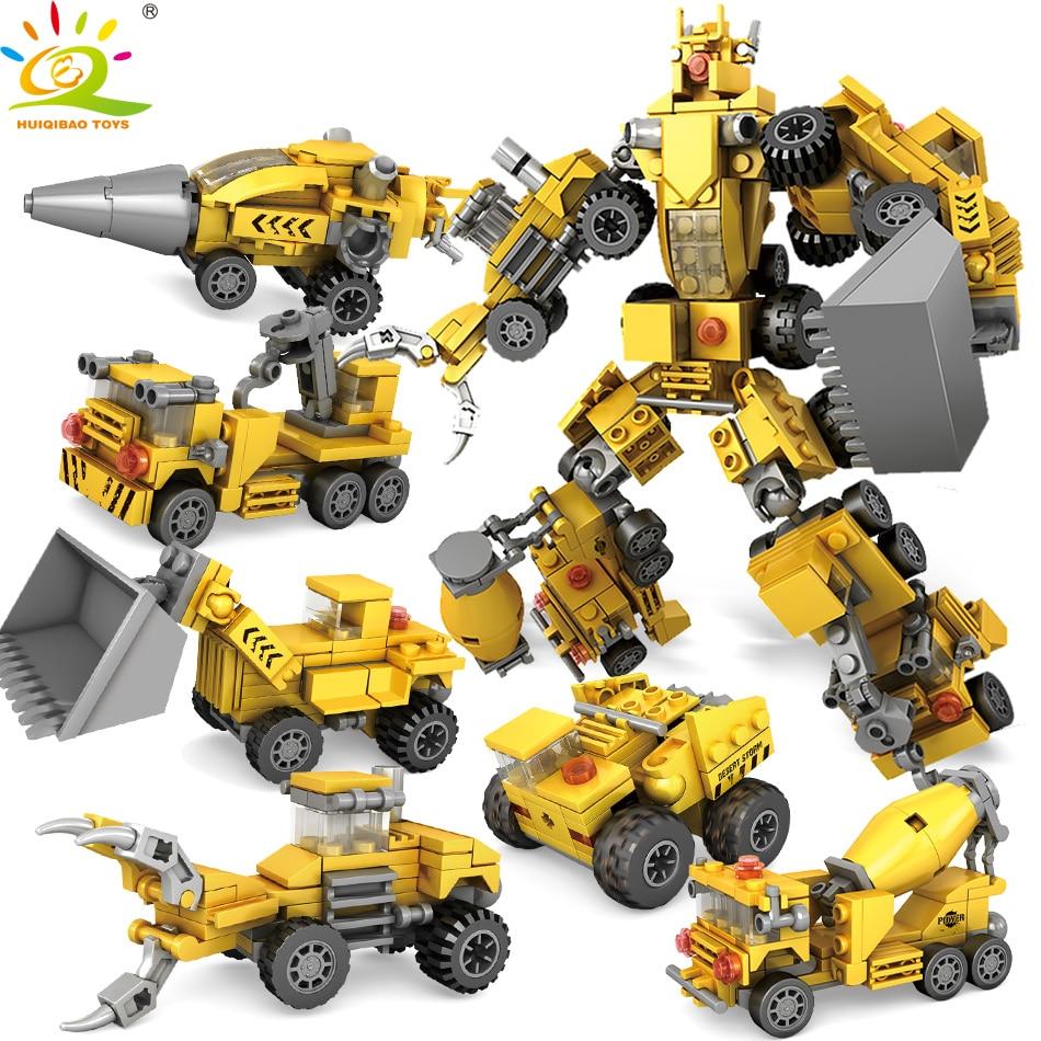 368pcs 6in1 Engineering Excavator Bulldozer Robot Building Block Compatible City Educational Bricks Toys for children368pcs 6in1 Engineering Excavator Bulldozer Robot Building Block Compatible City Educational Bricks Toys for children