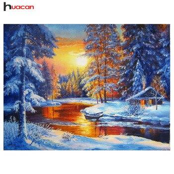HUACAN ダイヤモンド塗装雪キットクロスステッチ 5d DIY ダイヤモンド刺繍冬風景写真のラインストーン家の装飾