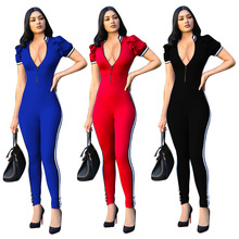 MUXU summer black jumpsuit bodysuit europe and the united states jumpsuits rompers sexy bodysuits women romper v neck jumpsuit цена и фото
