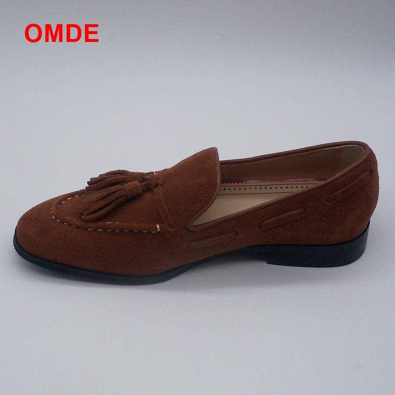 OMDE Summer Brown Suede Loafers Men Tassel Penny Loafer Shoes Genuine Leather Slip on Mens Driving Shoes Soft Male Moccasins suede slip on mens shoes