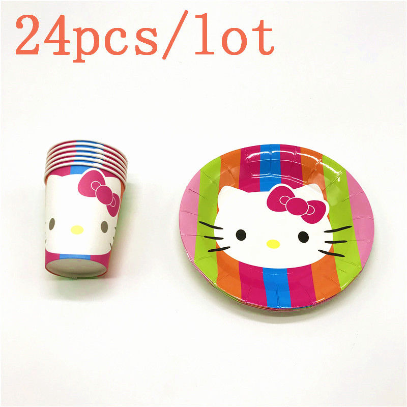 b3cff19d9 Hot Sale Hello Kitty Theme Disposable Paper Cup+Plate Event Party Wedding  Girl Favors Birthday
