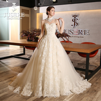 Jusere A line Lace Puffy Appliques Around Train Illusioni Shoulder Fake Sweetheart Beading High Neck Wedding Dress 2018