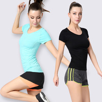 New Women Fitness Clothing Female Yoga Gym Workout Tees Summer Clothes T Shirt Running Shirt Bodybuilding