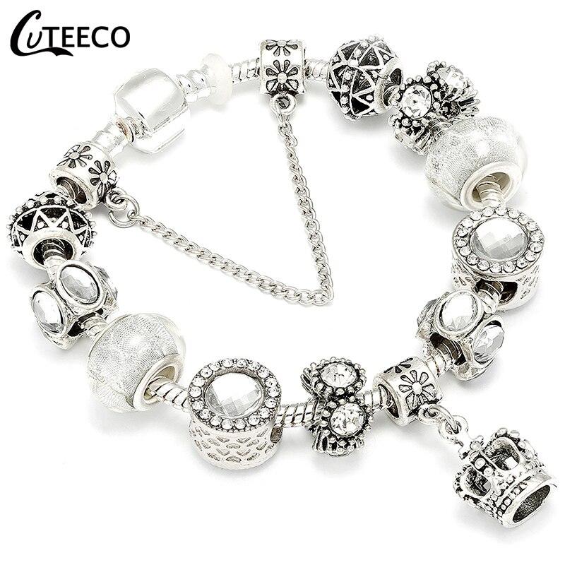 CUTEECO Crown Pendant Charm Bracelets Female 2018 European Style Enamel Beads Fit Brand Bracelet For Women Jewelry Gift пандора браслет с шармами