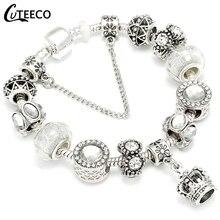 CUTEECO Crown Pendant Charm Bracelets Female 2018 European Style Enamel Beads Fit Brand Bracelet For Women Jewelry Gift