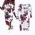 2016 de Moda de Verano Casual Vestido de Las Mujeres Media Manga de Cuello Asimétrico Vaina Bodycon Vestidos