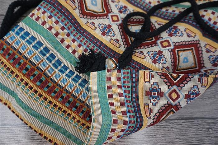 HTB1 9OQaHZnBKNjSZFhq6A.oXXaK LilyHood Women Fabric Backpack Female Gypsy Bohemian Boho Chic Aztec Ibiza Tribal Ethnic Ibiza Brown Drawstring Rucksack Bags