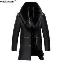 Fashion Black Male Genuine Leather Jacket Men Thick Sable Fur Collar Sheepskin Leather Tops Down Winter