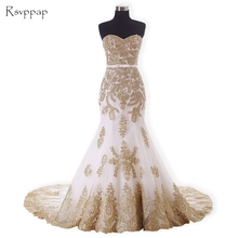 Long Evening Dress 2017 Mermaid Style Sweetheart Gold Lace Arabic African White Women Formal Evening Gowns robe de soiree