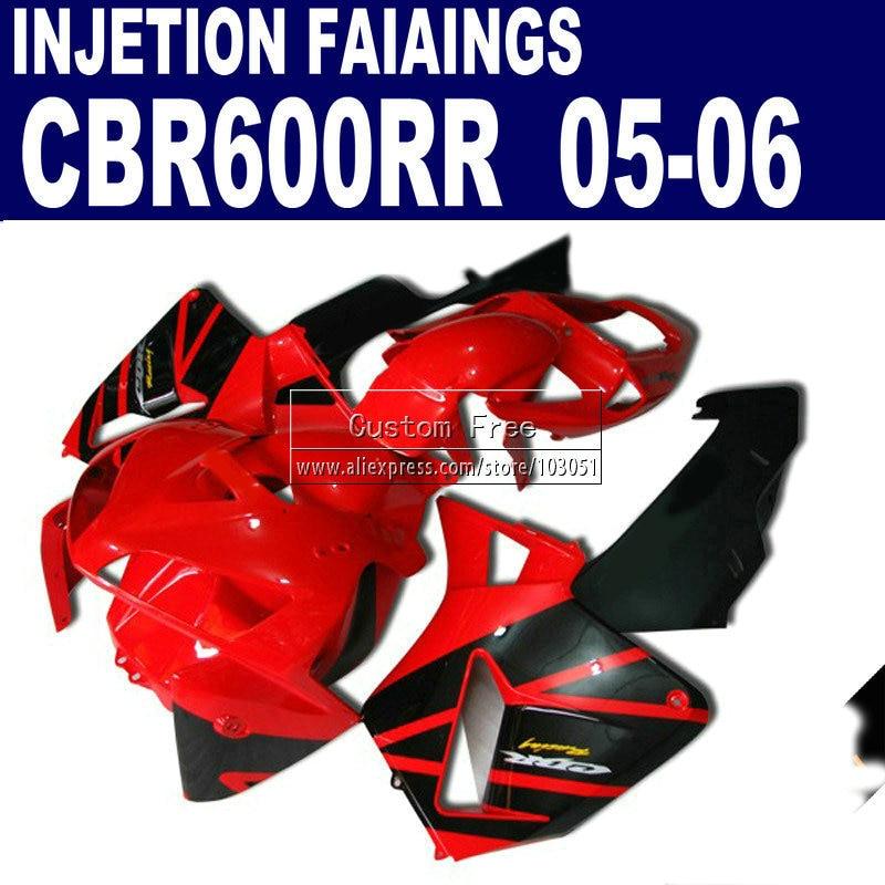 plastic injection molding fairings for Honda CBR 600 RR fairing 2005 2006 600RR CBR600RR 05 06 red black motorcycle kits