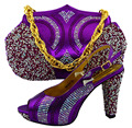 Italian shoe with matching bag set,African women shoe and bag to match set for party high qulaity shoes set For purple WUW1-51