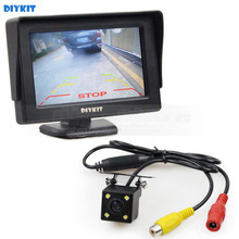 DIYKIT Wire 4.3 inch TFT LCD Car Monitor Rear View Kit Reversing HD LED Camera Auto Parking Assistance System