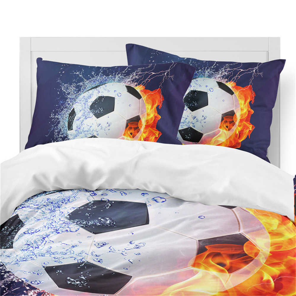 3 قطعة ثلاثية الأبعاد النار كرة القدم طقم سرير تصميم الرياضة حاف مجموعة غطاء ملعب كرة القدم طباعة الفراش الملك الملكة المخدة غطاء لحاف