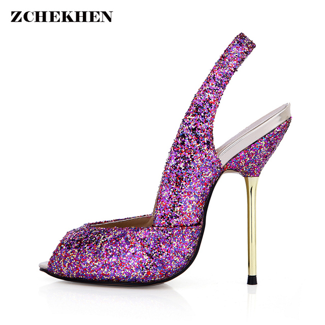 New 2018 women pumps Sexy cross strap slingbacks platform high heels Ladies party shoes Fashion bling summer wedding shoes woman cheap pictures xHgeu